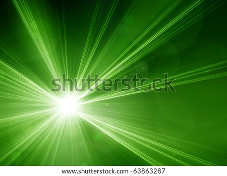 Green laser beams - stock photo