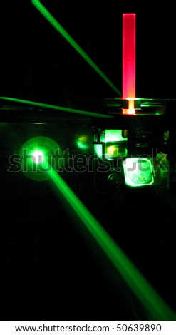 green laser installation - stock photo
