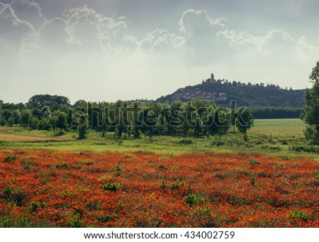 Green lawn in front of small rural church on a hilltop under blue sky in Piedmont, Northern Italy. - stock photo