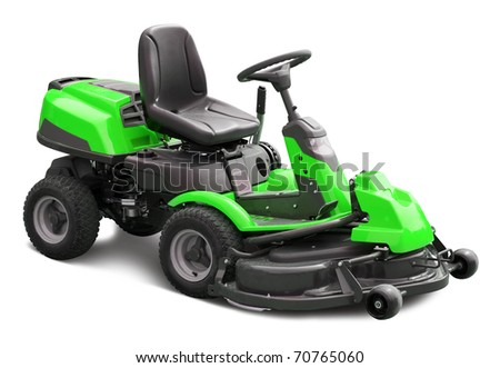 Green lawn mower. Isolated with clipping path - stock photo