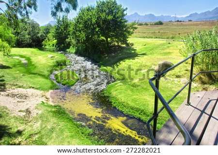 Green lawn next to mountain river. Shot near Stellenbosch, Western Cape, South Africa.  - stock photo