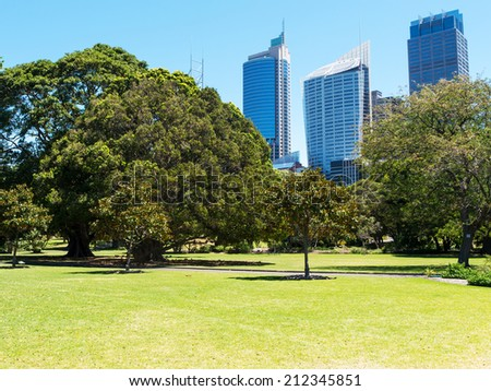 Green lawn with modern building as background in Sydney, Australia - stock photo