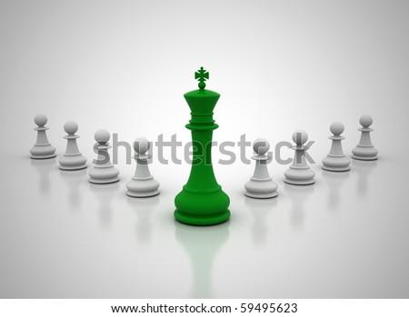 Green leadership illustration - stock photo