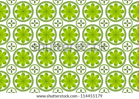 Green leaf flower pattern background - stock photo