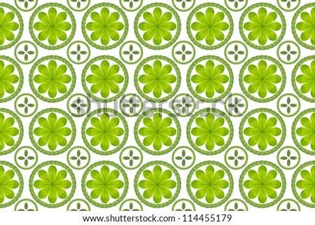 Green leaf flower pattern background - stock photo