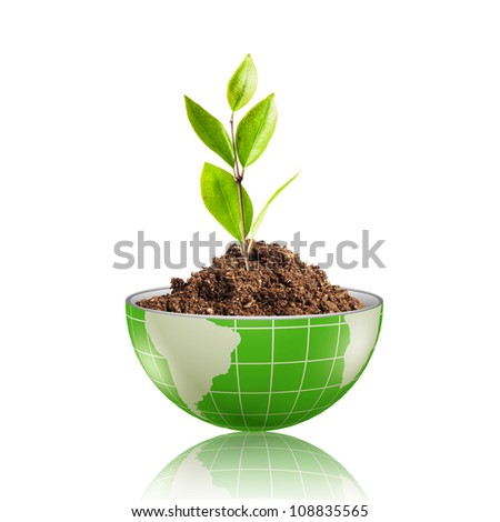Green leaf glowing on the green digital globe with dirt - stock photo
