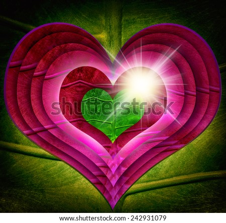 Green leaf Heart Protecting world leaves ECO green energy abstract star shine bright, effect Vivid green-red sparking Design background,Heart is a story Shadows,,help-safe world - stock photo