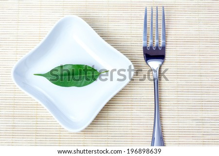 Green leaf on a plate as vegetarian diet - concept of healthy dieting - stock photo