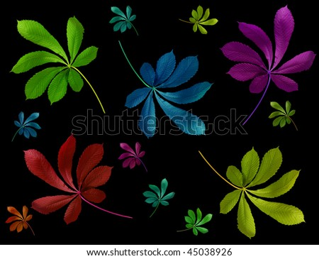 Green leaf on black background - stock photo