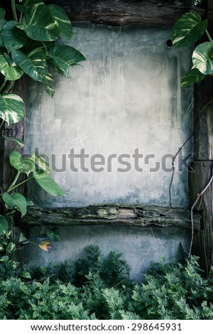 green leaf plant over grunge wall background- vintage effect style picture - stock photo
