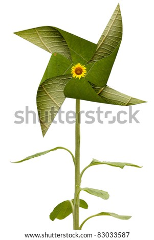 green leaf windmill, eco concept - stock photo