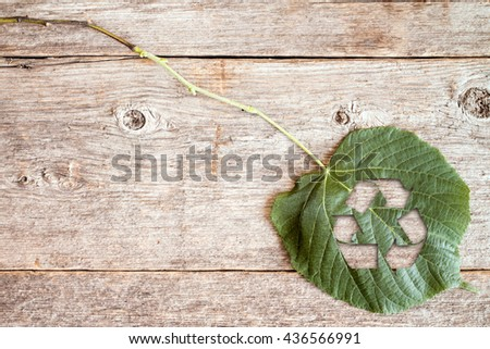 Green leaf with a cutout of a recycle symbol on a wooden background