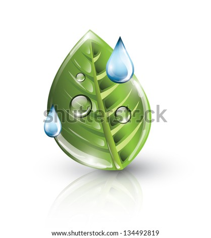 Green leaf with blue drops, eco concept - stock photo