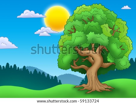 Green leafy tree in landscape - color illustration. - stock photo