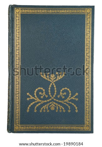 green leather and gold book cover half blank for user text - stock photo