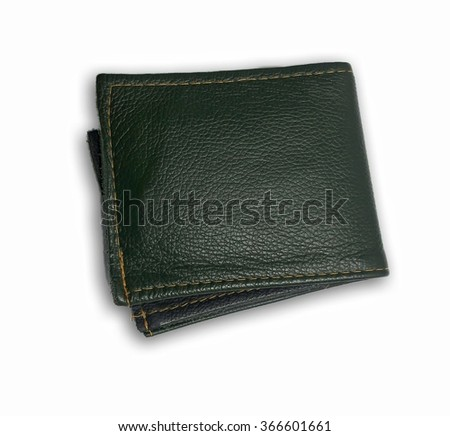 Green leather bag isolated white background.