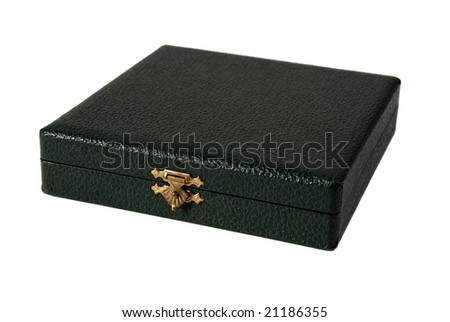 Green leather box on white background