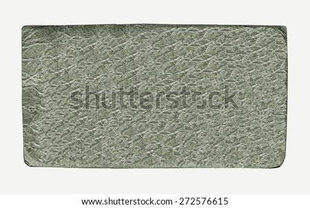 green leather label on white background - stock photo