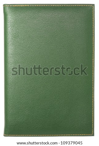 green leather notebook cover isolated on white with clipping path - stock photo