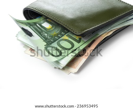Green leather wallet / purse / money pouch.with clipping path - stock photo