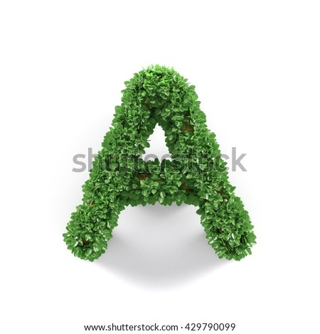 Green leaves A ecology letter alphabet font isolated on white background. 3d rendering - stock photo