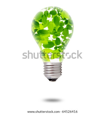 Green Leaves inside Bulb - stock photo