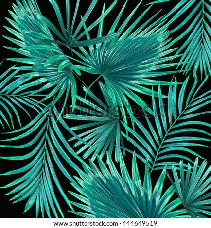 Green leaves of palm tree background - stock photo