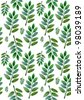 Green leaves on a white background. Seamless pattern. Watercolor. - stock vector