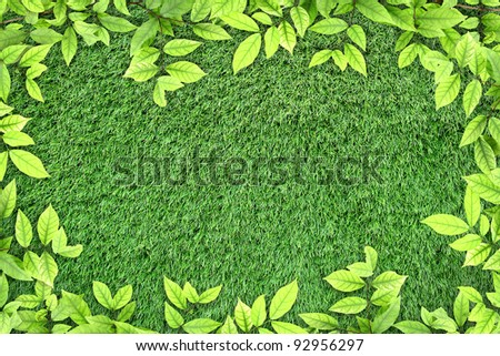 Green leaves on artificial grass for text and background - stock photo