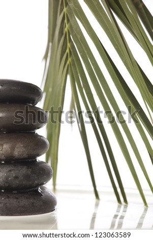 Green leaves over zen stones pyramid on water surface - stock photo