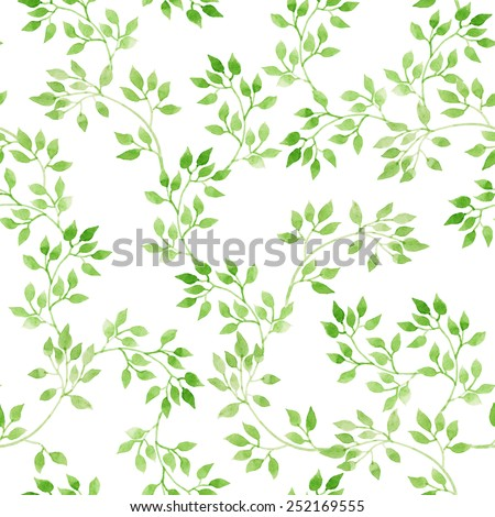 Green leaves. Repeating pattern. Watercolor
