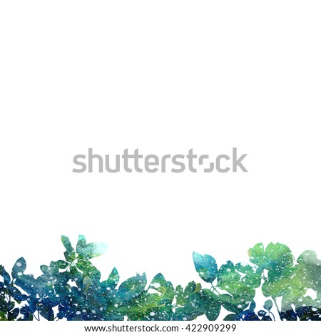 Green Leaves Watercolor Artistic Border Forest Or Garden Party Theme Background Image Abstract