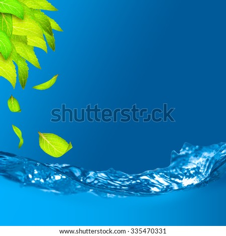 Green leaves with shallow depth of field of water and falling leaf - stock photo