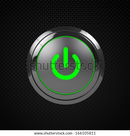 Green LED power button on black background - stock photo