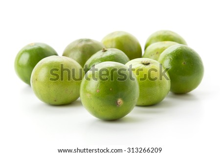 green lemon on white background