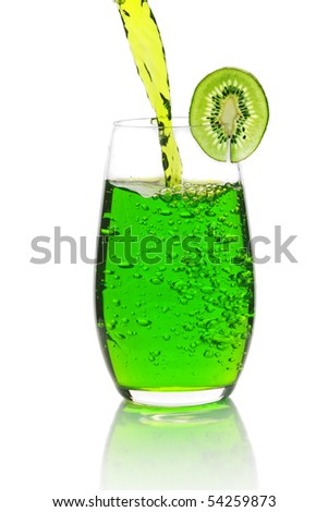 Green lemonade with kiwi. Isolated on a white background - stock photo