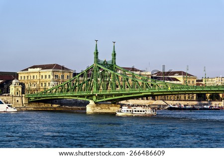 Green Liberty bridge (Szabadsag) in Budapest, capital city of Hungary - stock photo