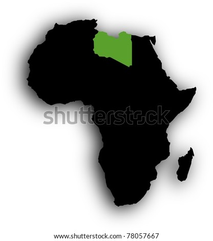 Green Libya in black Africa - stock photo