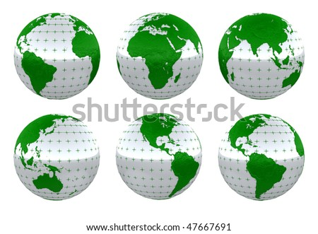 Green life - isolated planet Earth over white - stock photo
