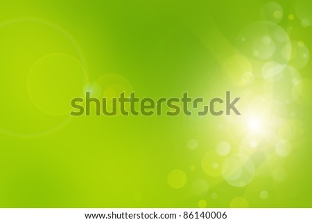 Green light bubbles abstract background - stock photo