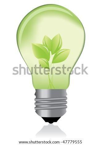 Green light bulb / eco concept - stock photo