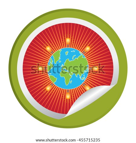 Green Light Bulb Icon Around The World Infographics Icon on Circle Peeling Sticker Isolated on White Background