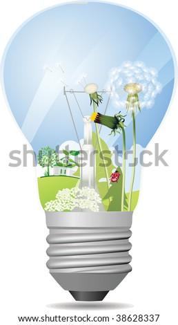 Green light bulb. Raster version of vector illustration. - stock photo