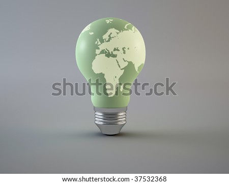 Green light bulb - with world map