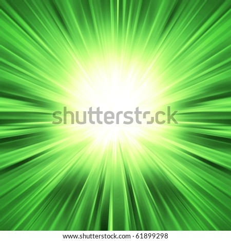 Green light burst - abstract background - stock photo