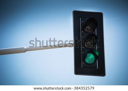 Green light for go - stock photo