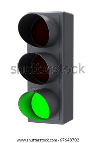 Green light. Isolated white background. - stock photo