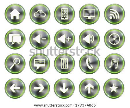 Green light Metallic style phone phone icon buttons set  - stock photo