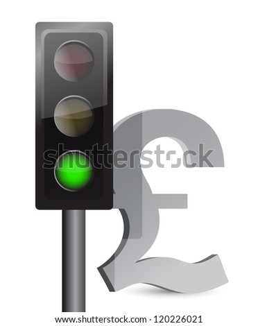 green light on pound concept illustration design over white - stock photo