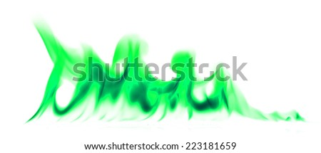 Green light smoke abstract background.